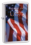 Made in USA Flag Brushed Chrome Zippo Lighter